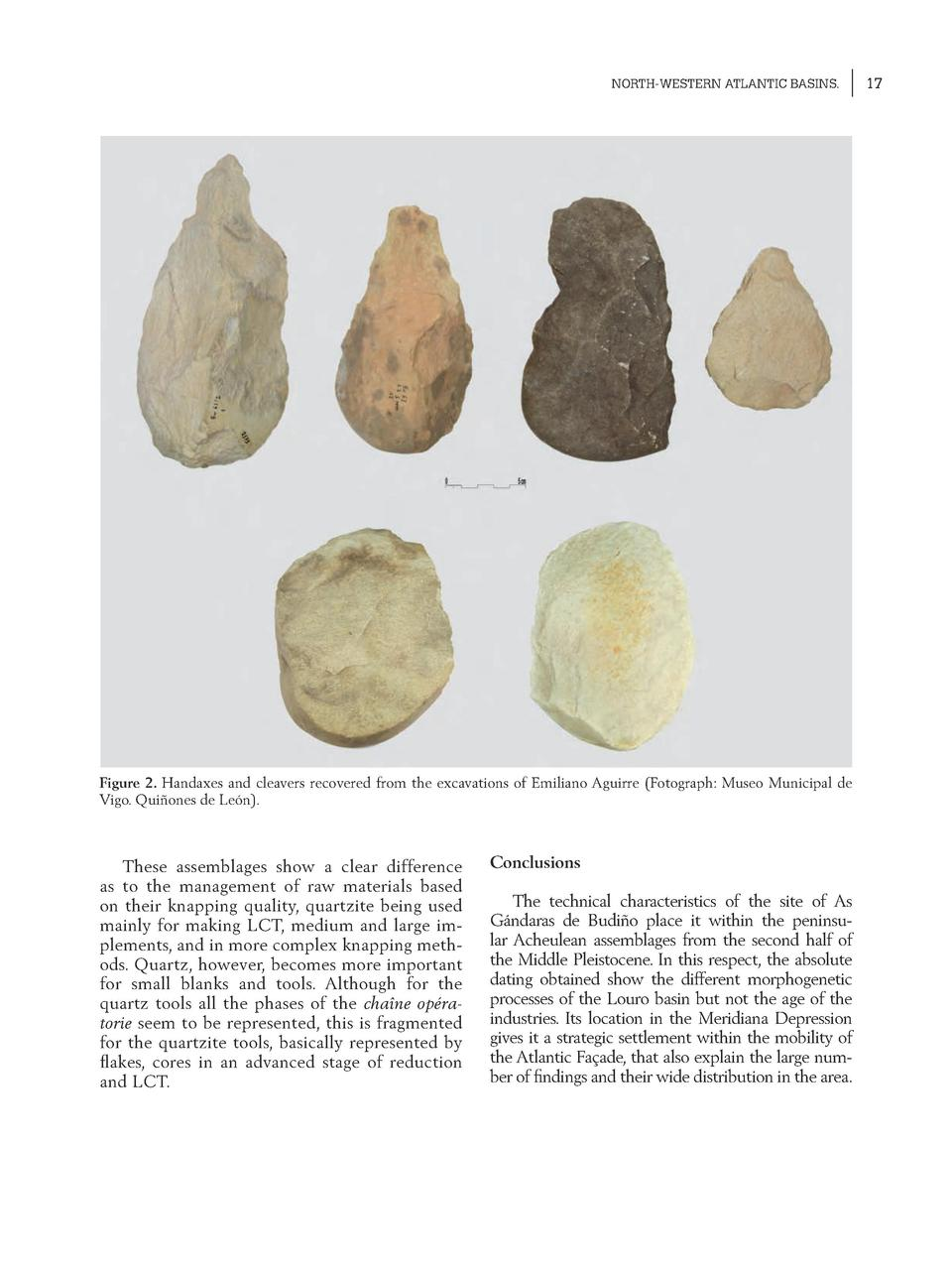NORTH-WESTERN ATLANTIC BASINS.  Figure 2. Handaxes and cleavers recovered from the excavations of Emiliano Aguirre  Fotogr...