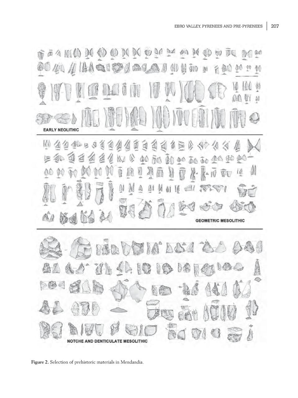 EBRO VALLEY, PYRENEES AND PRE-PYRENEES  Figure 2. Selection of prehistoric materials in Mendandia.  207
