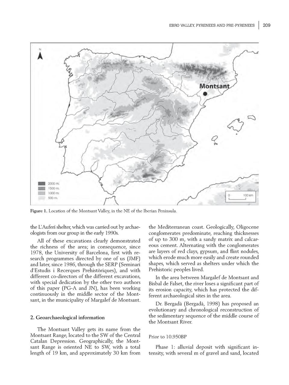 EBRO VALLEY, PYRENEES AND PRE-PYRENEES  Figure 1. Location of the Montsant Valley, in the NE of the Iberian Peninsula.  th...