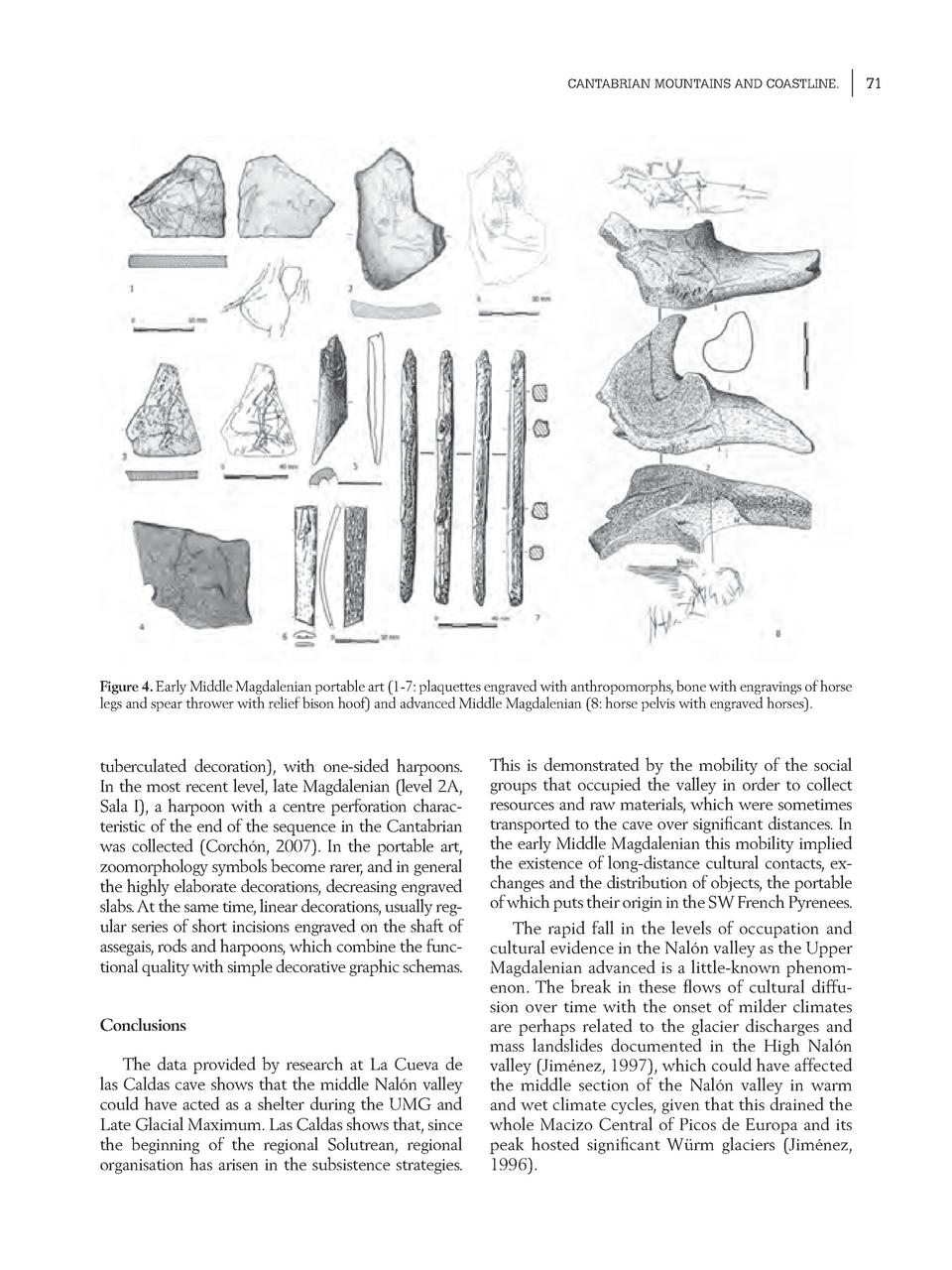 CANTABRIAN MOUNTAINS AND COASTLINE.  Figure 4. Early Middle Magdalenian portable art  1-7  plaquettes engraved with anthro...