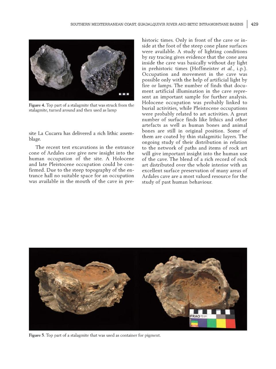 SOUTHERN MEDITERRANEAN COAST, GUADALQUIVIR RIVER AND BETIC INTRAMONTANE BASINS  Figure 4. Top part of a stalagmite that wa...