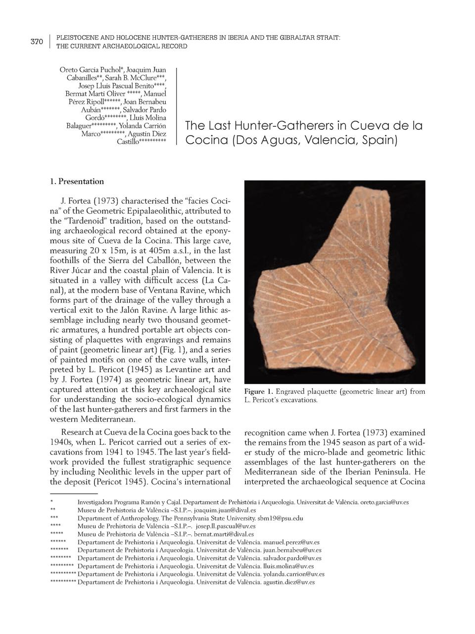 370  PLEISTOCENE AND HOLOCENE HUNTER-GATHERERS IN IBERIA AND THE GIBRALTAR STRAIT  THE CURRENT ARCHAEOLOGICAL RECORD  Oret...