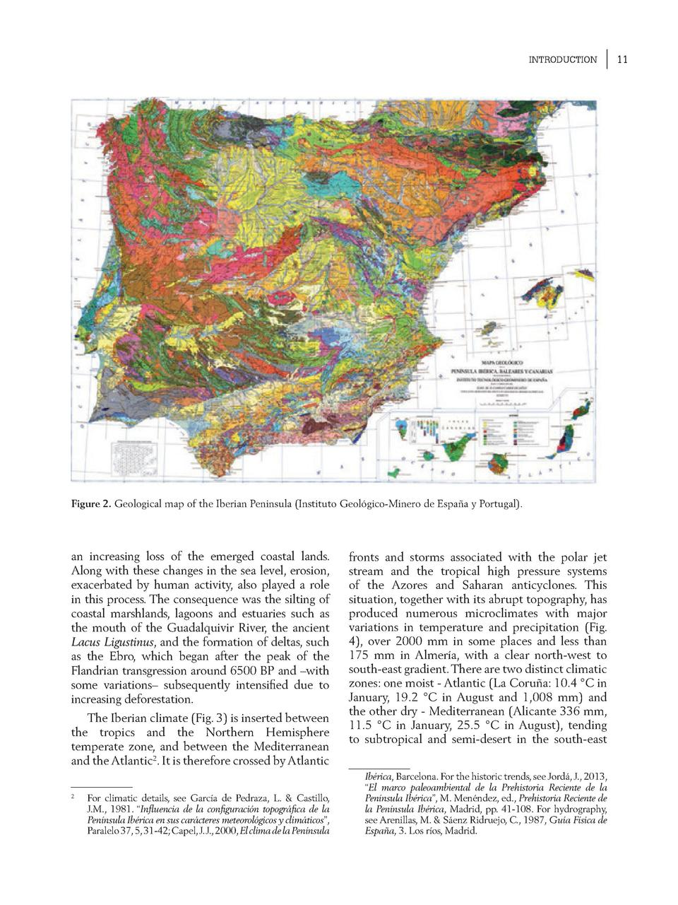 INTRODUCTION  Figure 2. Geological map of the Iberian Peninsula  Instituto Geol  gico-Minero de Espa  a y Portugal .  an i...