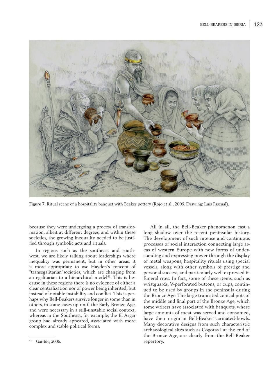 BELL-BEAKERS IN IBERIA  Figure 7. Ritual scene of a hospitality banquet with Beaker pottery  Rojo et al., 2006. Drawing  L...