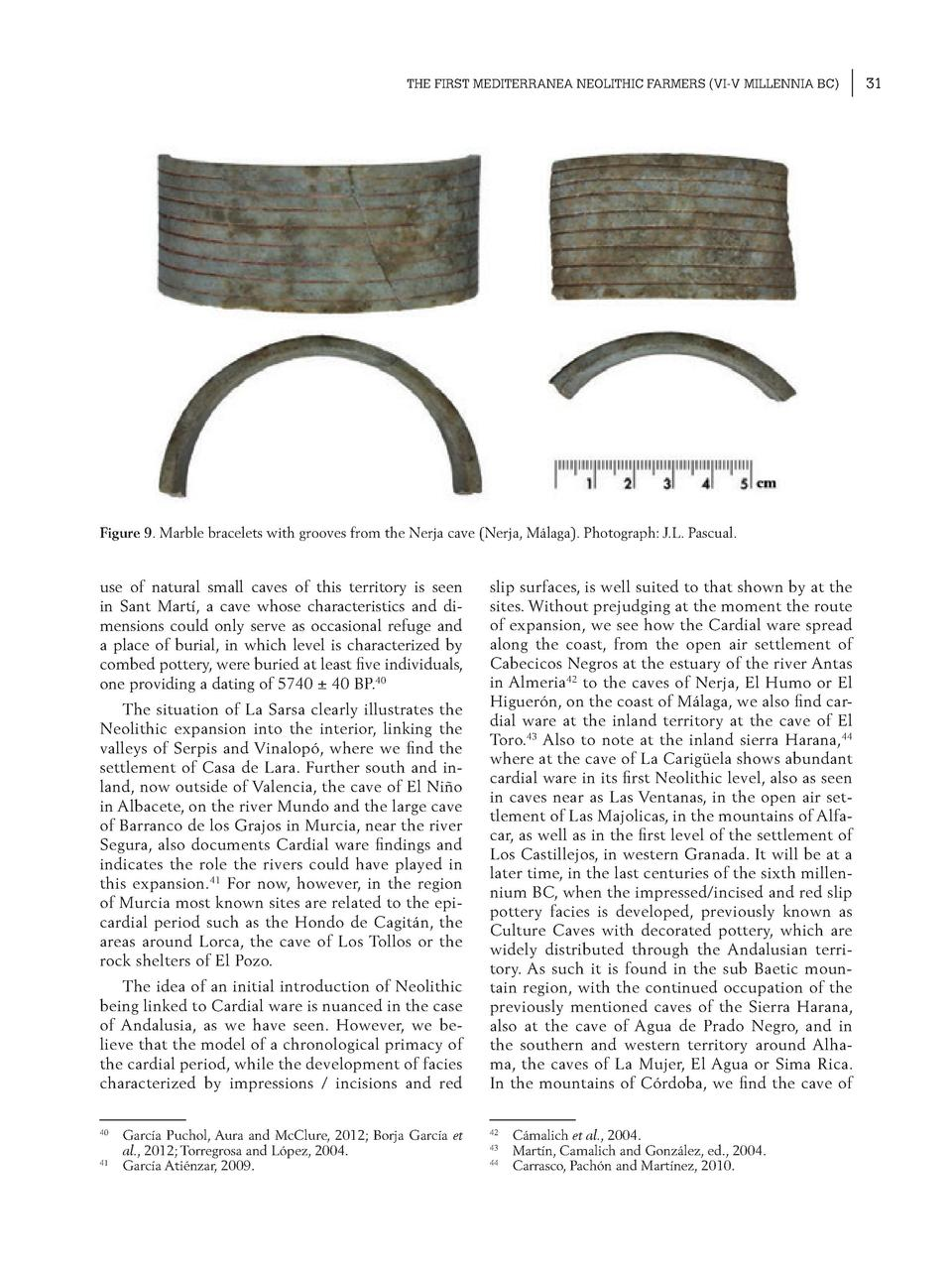 THE FIRST MEDITERRANEA NEOLITHIC FARMERS  VI-V MILLENNIA BC   Figure 9. Marble bracelets with grooves from the Nerja cave ...