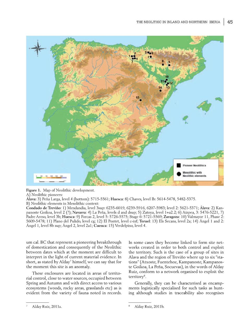THE NEOLITHIC IN INLAND AND NORTHERN IBERIA  Figure 1. Map of Neolithic development. A  Neolithic pioneers    lava  3  Pe ...