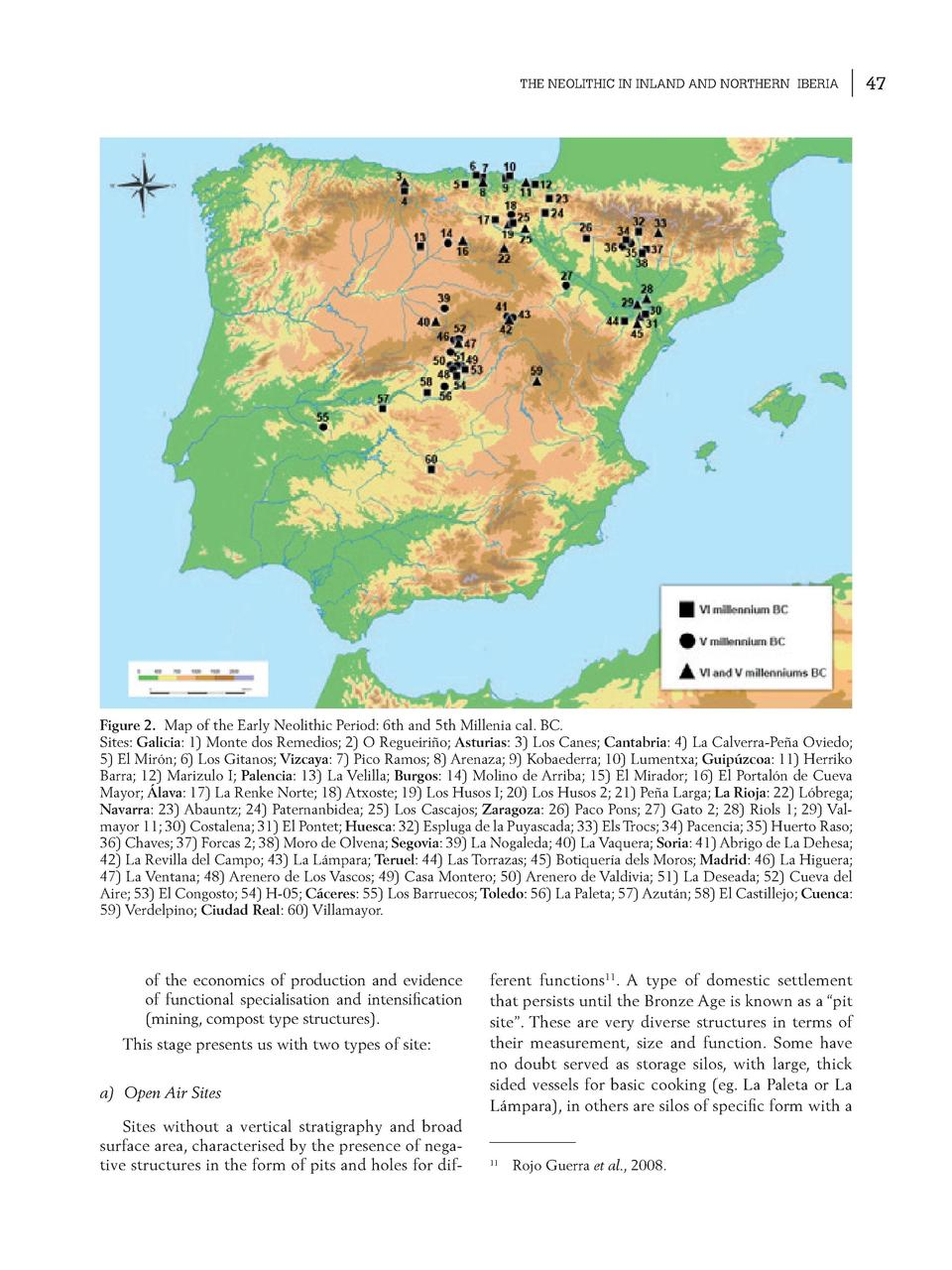THE NEOLITHIC IN INLAND AND NORTHERN IBERIA  Figure 2. Map of the Early Neolithic Period  6th and 5th Millenia cal. BC. Si...