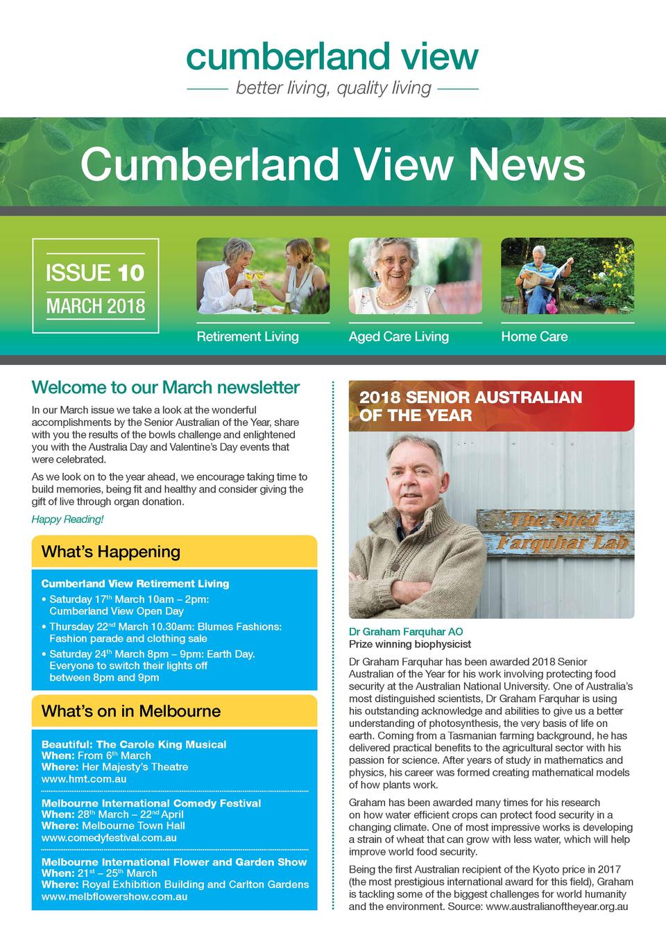 cumberland view better living, quality living  Cumberland View News ISSUE 10 MARCH 2018 Retirement Living  Welcome to our ...