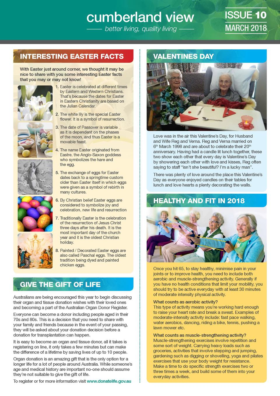 cumberland view better living, quality living  INTERESTING EASTER FACTS  ISSUE 10 MARCH 2018  VALENTINES DAY  With Easter ...