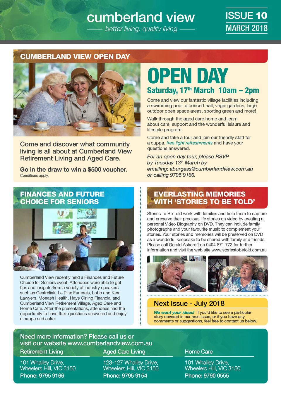 cumberland view better living, quality living  ISSUE 10 MARCH 2018  CUMBERLAND VIEW OPEN DAY  OPEN DAY  Saturday, 17th Mar...