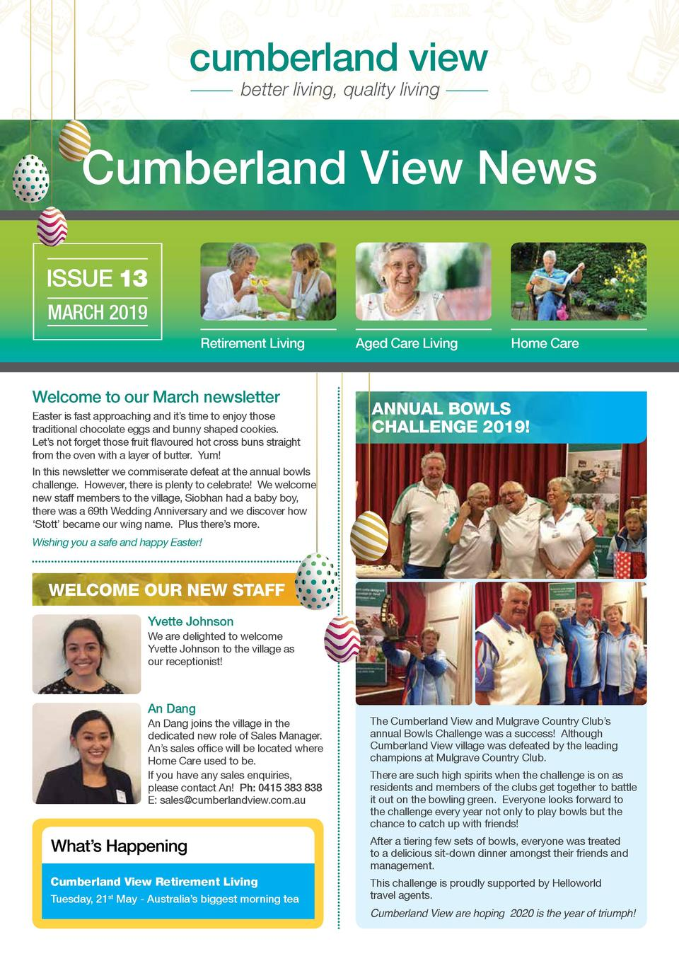 cumberland view better living, quality living  Cumberland View News ISSUE 13 MARCH 2019 Retirement Living  Welcome to our ...