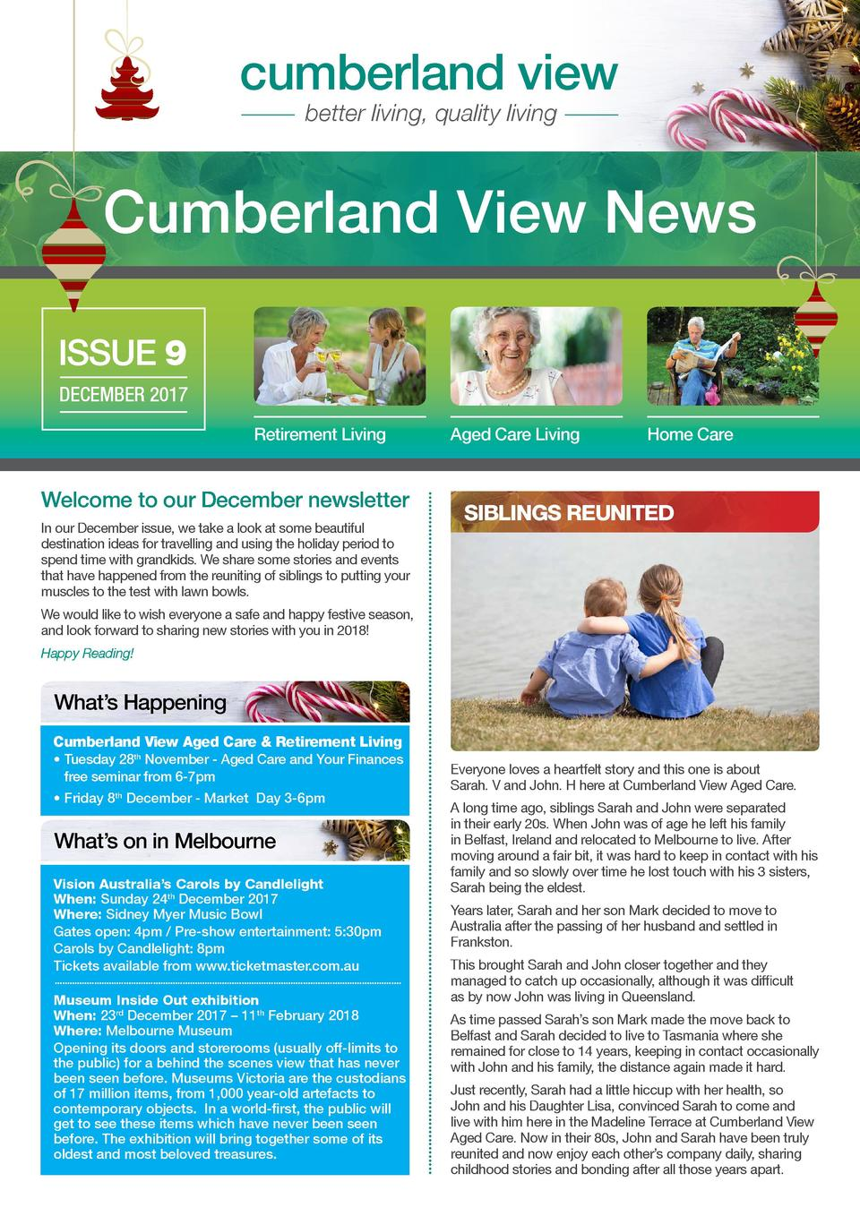 cumberland view better living, quality living  Cumberland View News ISSUE 9 DECEMBER 2017 Retirement Living  Welcome to ou...