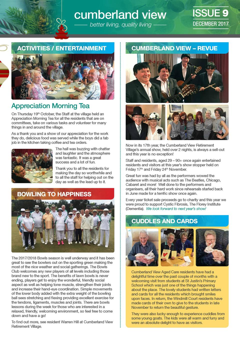 cumberland view better living, quality living  ACTIVITIES   ENTERTAINMENT  ISSUE 9 DECEMBER 2017  CUMBERLAND VIEW     REVU...