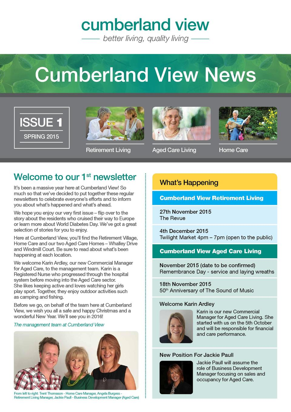 cumberland view better living, quality living  Cumberland View News ISSUE 1 SPRING 2015 Retirement Living  Welcome to our ...