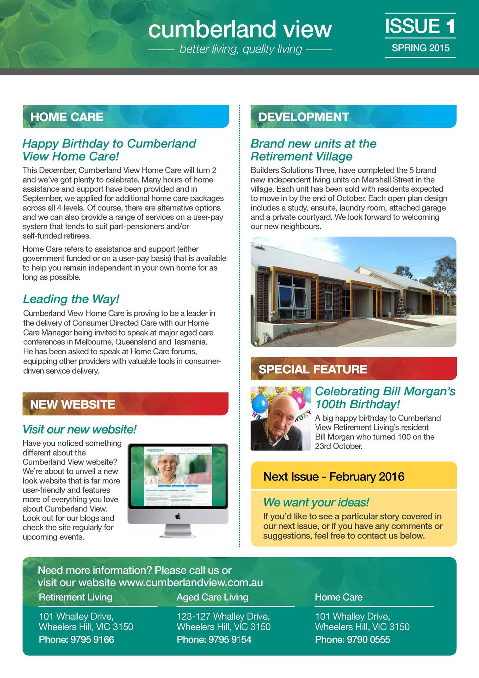 cumberland view better living, quality living  HOME CARE  ISSUE 1 SPRING 2015  DEVELOPMENT  Happy Birthday to Cumberland V...