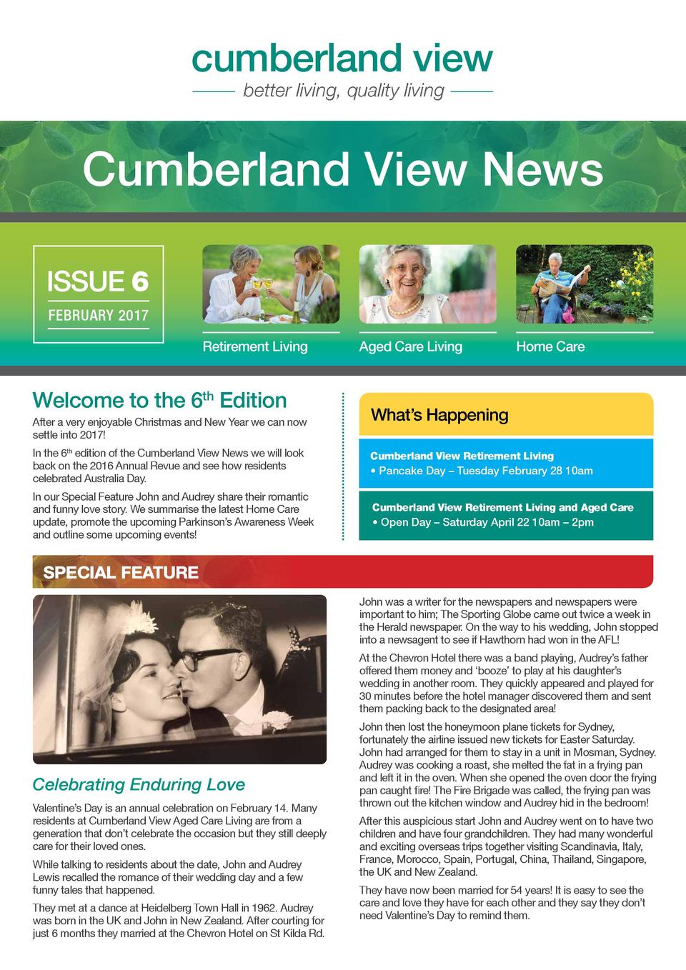 cumberland view better living, quality living  Cumberland View News ISSUE 6 FEBRUARY 2017 Retirement Living  Welcome to th...