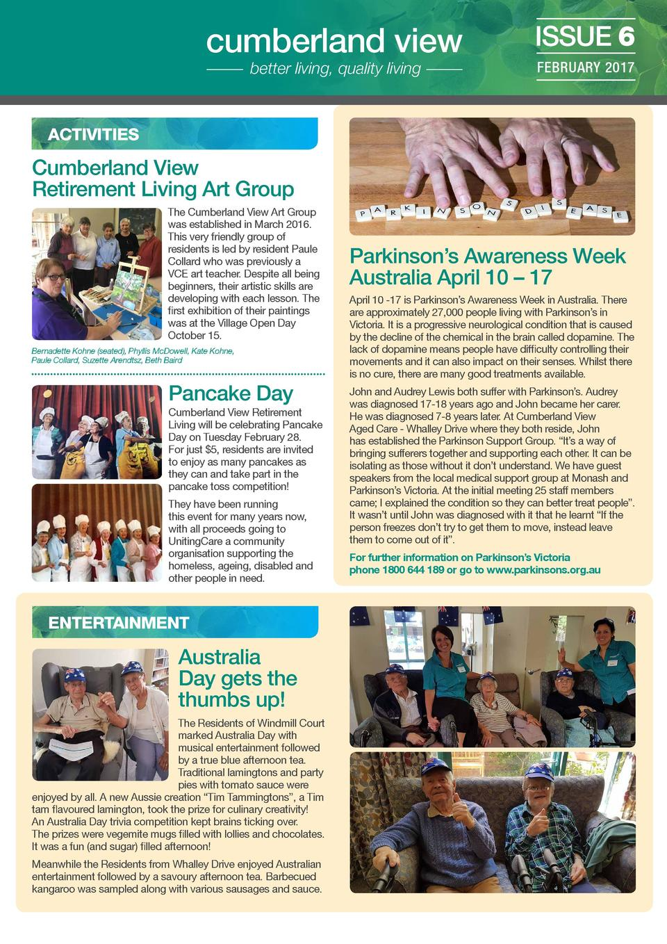 cumberland view better living, quality living  ISSUE 6 FEBRUARY 2017  ACTIVITIES  Cumberland View Retirement Living Art Gr...