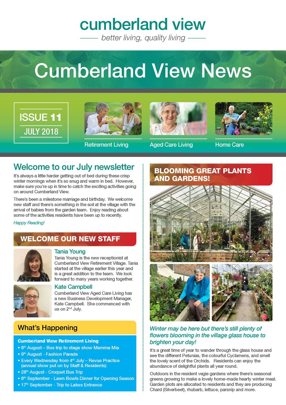 cumberland view better living, quality living  Cumberland View News ISSUE 11 JULY 2018 Retirement Living  Welcome to our J...