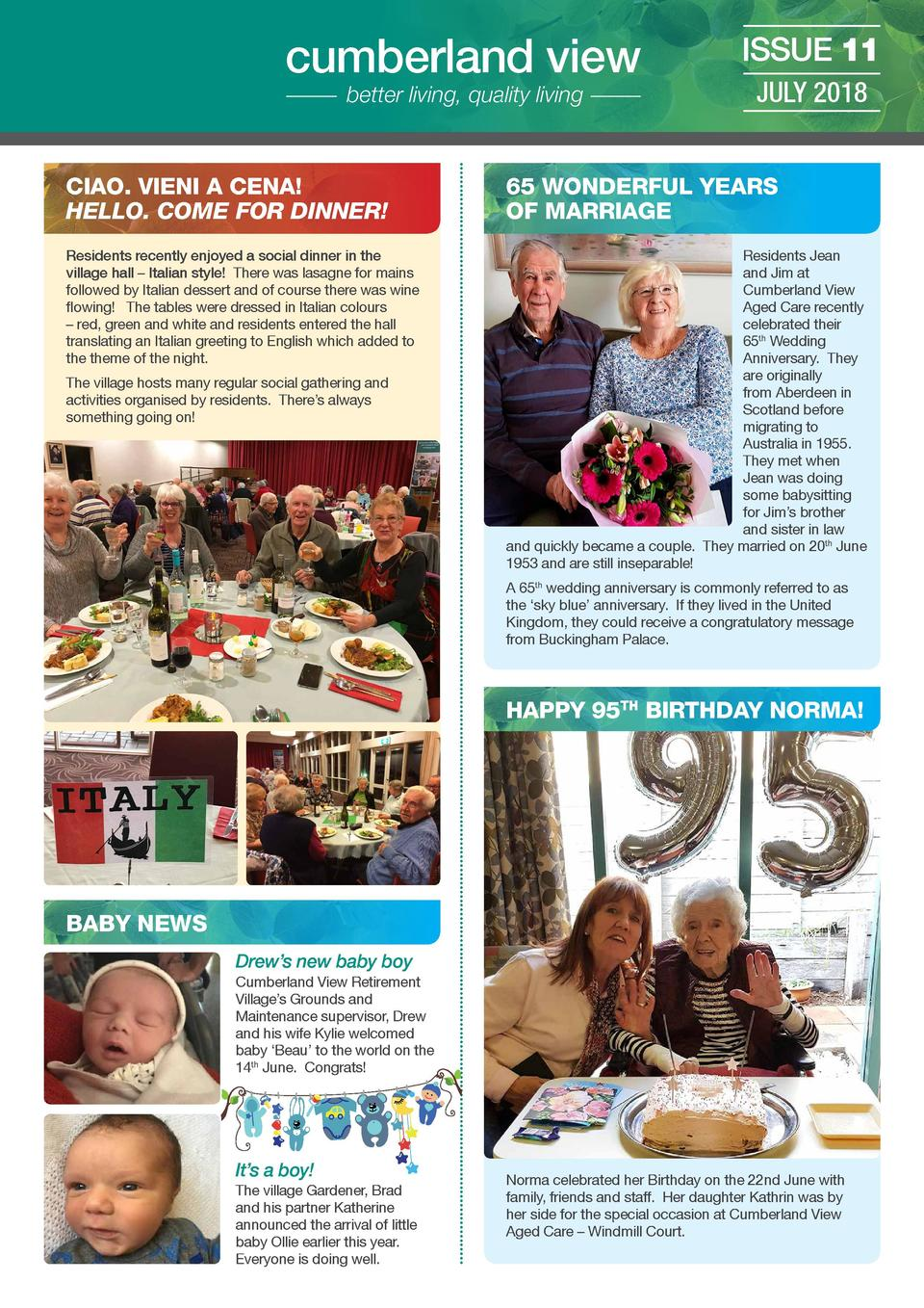 cumberland view better living, quality living  ISSUE 11 JULY 2018  CIAO. VIENI A CENA  HELLO. COME FOR DINNER   65 WONDERF...