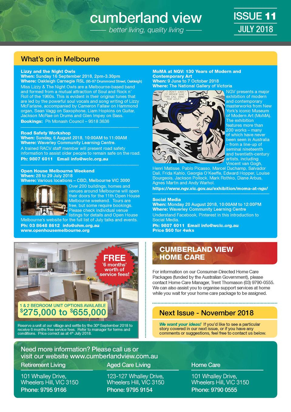 cumberland view  ISSUE 11  better living, quality living  JULY 2018  What   s on in Melbourne Lizzy and the Night Owls Whe...