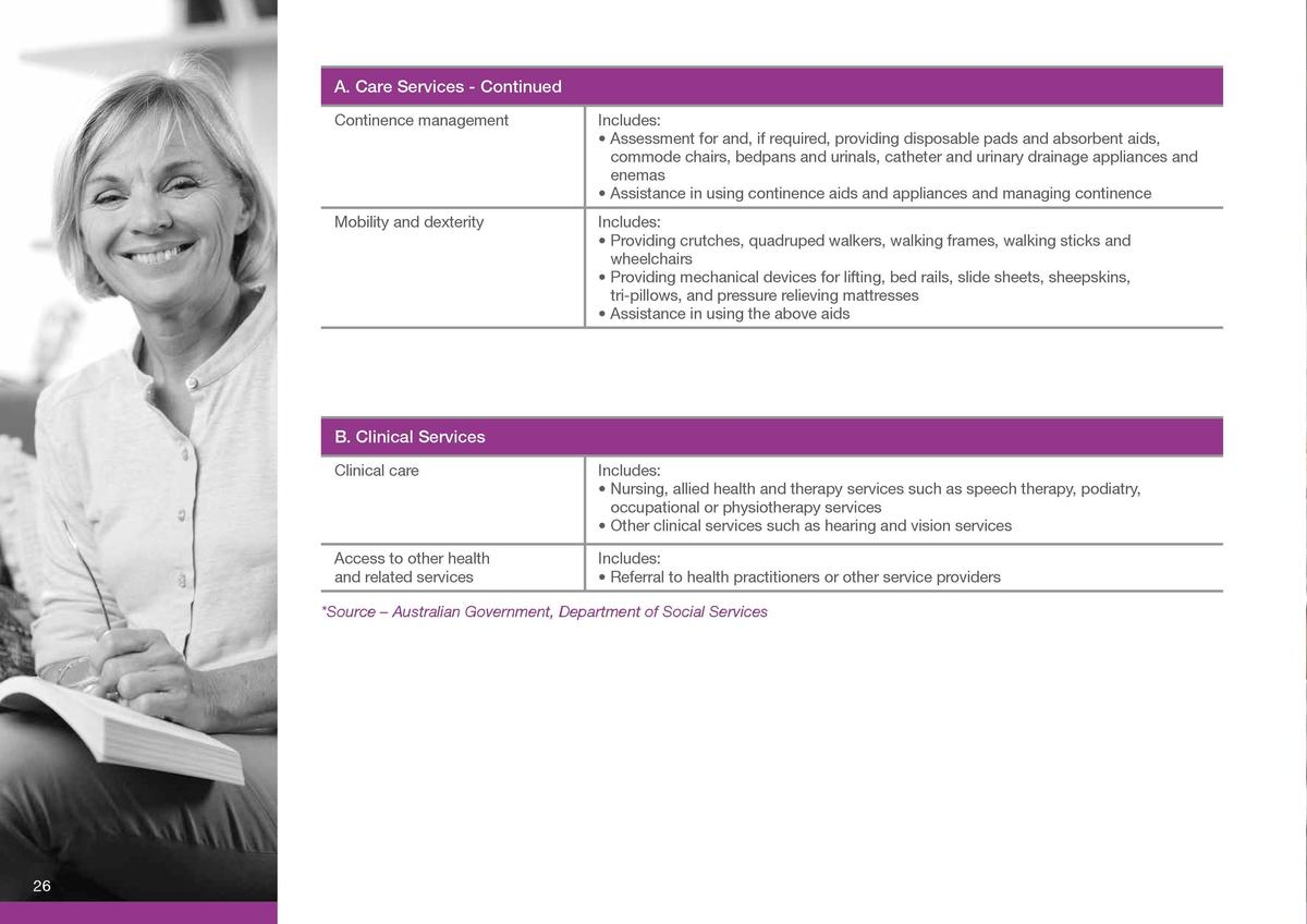 C. Support Services A. Care Services - Continued Continence management  Includes       Assessment for and, if required, pr...