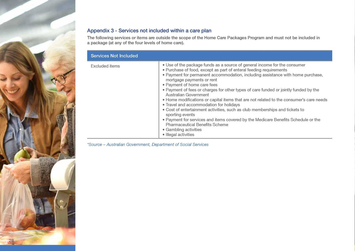 Appendix 3 - Services not included within a care plan  Appendix 4     Home Care Manager  The following services or items a...
