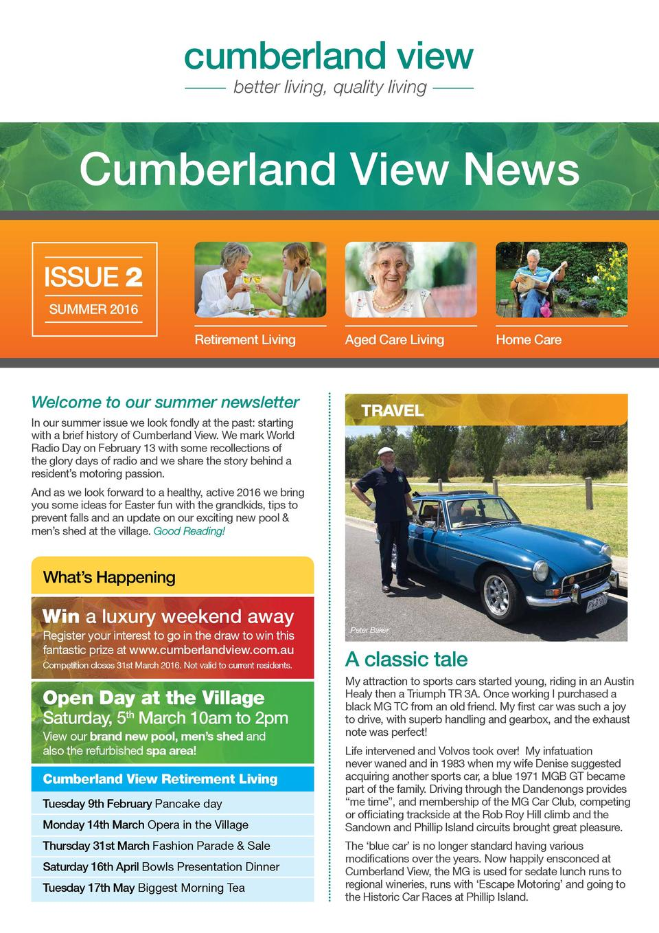 cumberland view better living, quality living  Cumberland View News ISSUE 2 SUMMER 2016 Retirement Living  Welcome to our ...