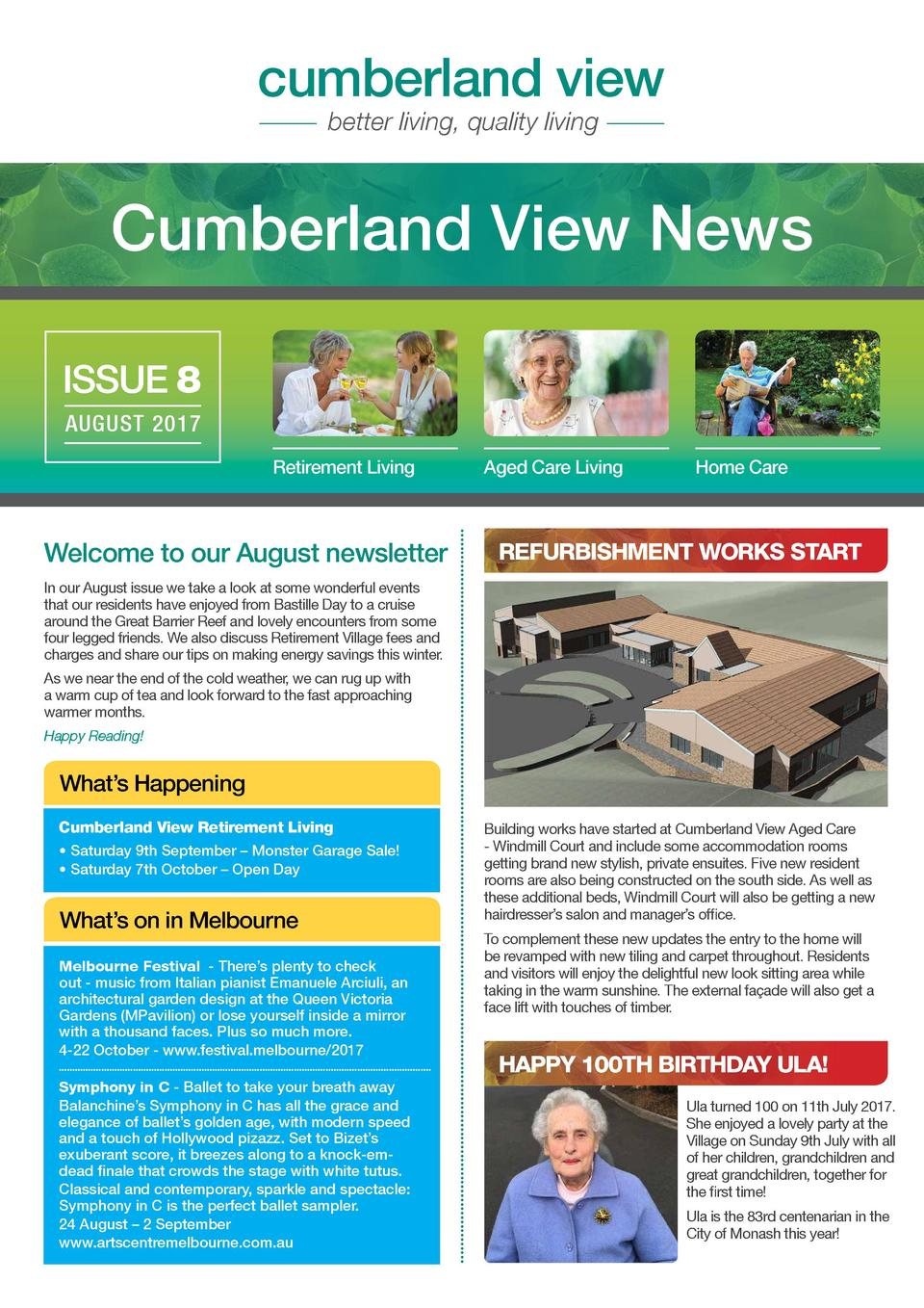 cumberland view better living, quality living  Cumberland View News ISSUE 8 AUGUST 2017 Retirement Living  Welcome to our ...