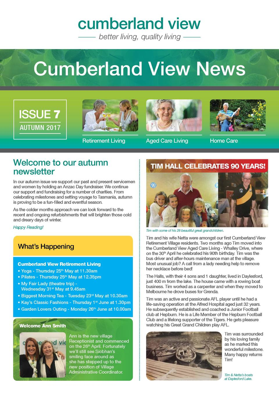 cumberland view better living, quality living  Cumberland View News ISSUE 7 AUTUMN 2017 Retirement Living  Welcome to our ...