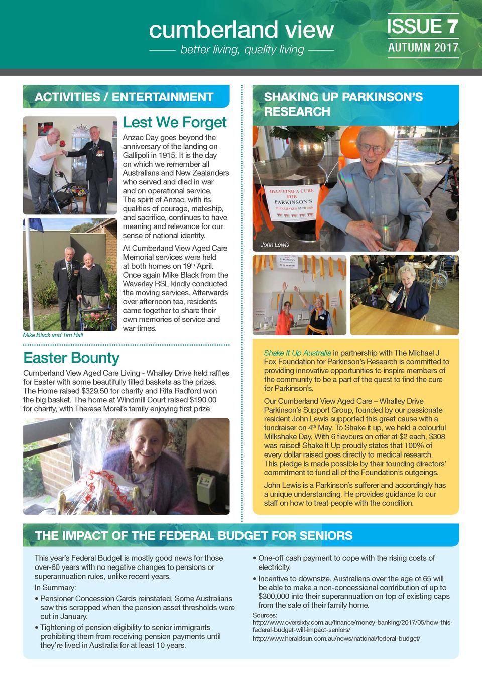 cumberland view better living, quality living  ACTIVITIES   ENTERTAINMENT  Lest We Forget  ISSUE 7 AUTUMN 2017  SHAKING UP...