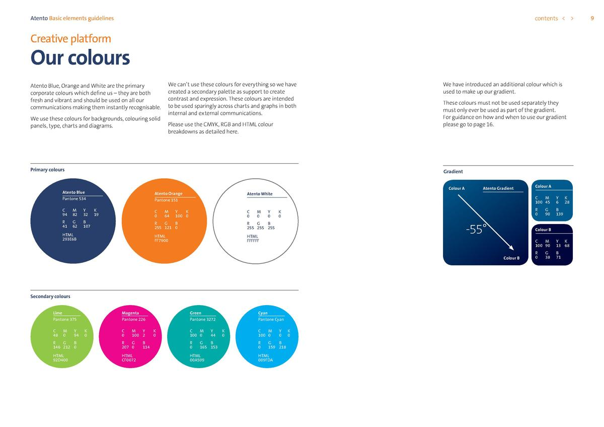 contents      Atento Basic elements guidelines  Creative platform  Our colours Atento Blue, Orange and White are the prima...