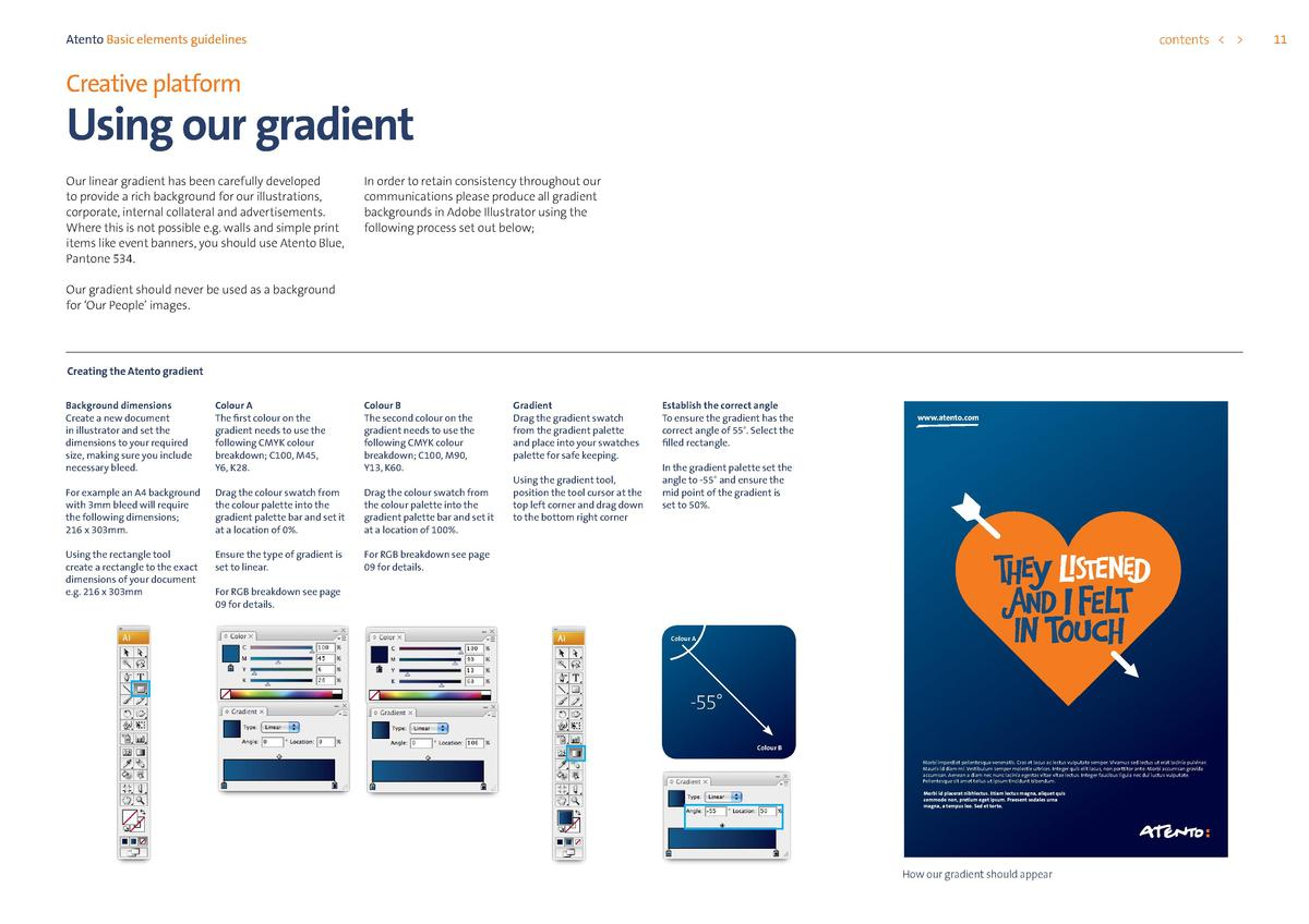 contents      Atento Basic elements guidelines  Creative platform  Using our gradient Our linear gradient has been careful...