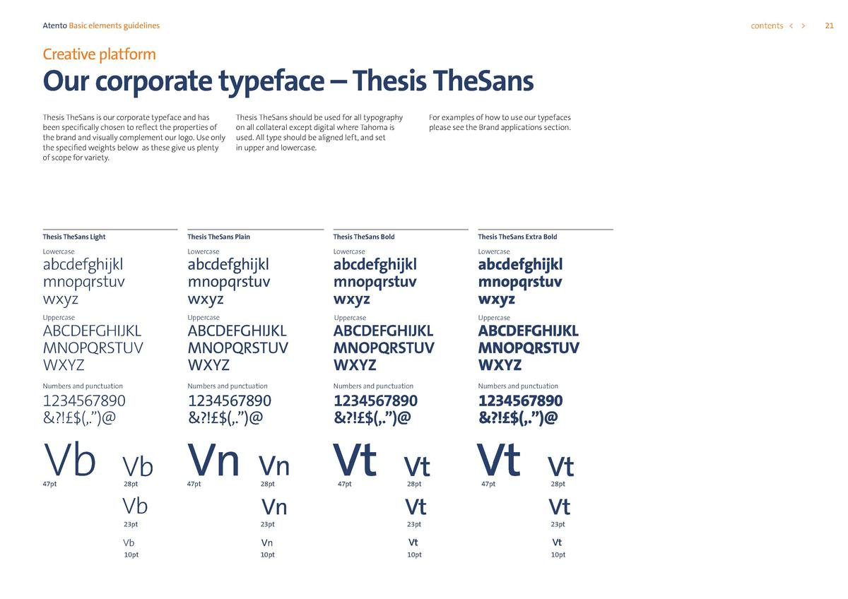 contents      Atento Basic elements guidelines  Creative platform  Our corporate typeface     Thesis TheSans Thesis TheSan...