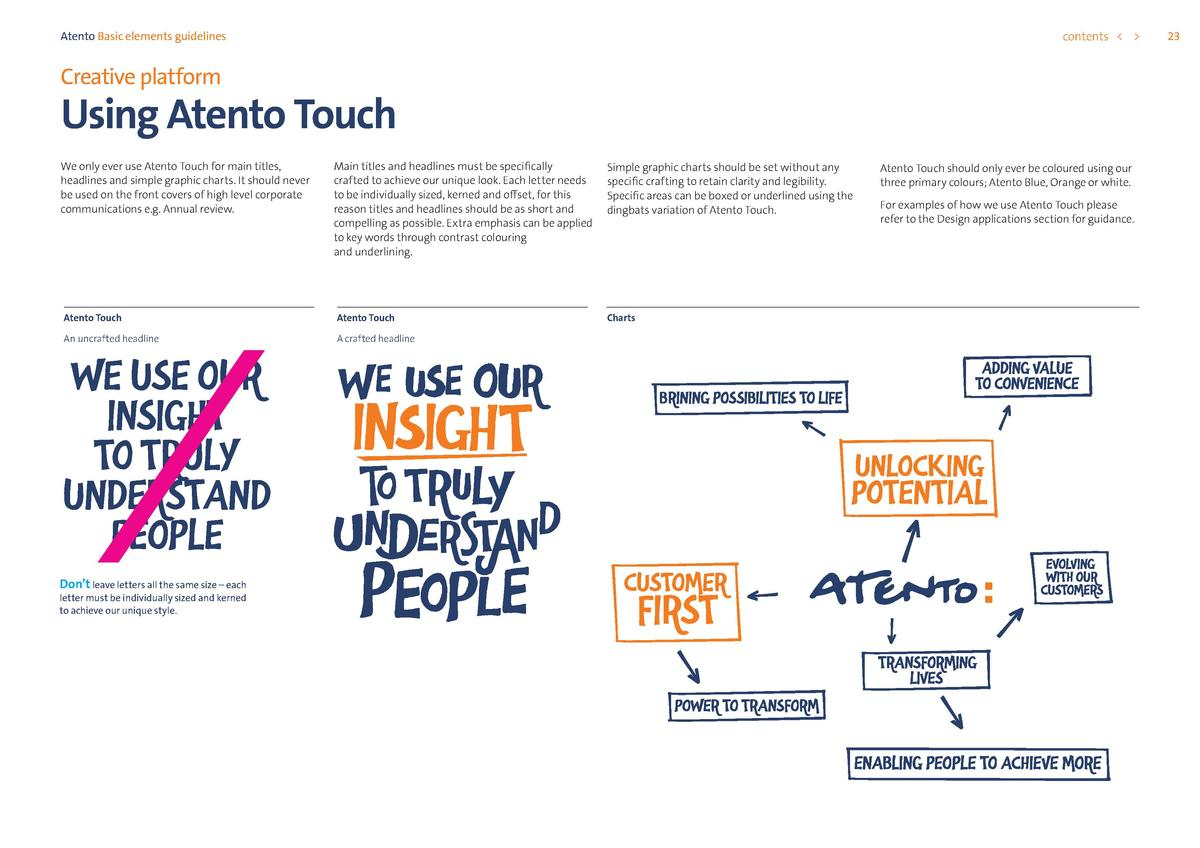 contents      Atento Basic elements guidelines  Creative platform  Using Atento Touch We only ever use Atento Touch for ma...