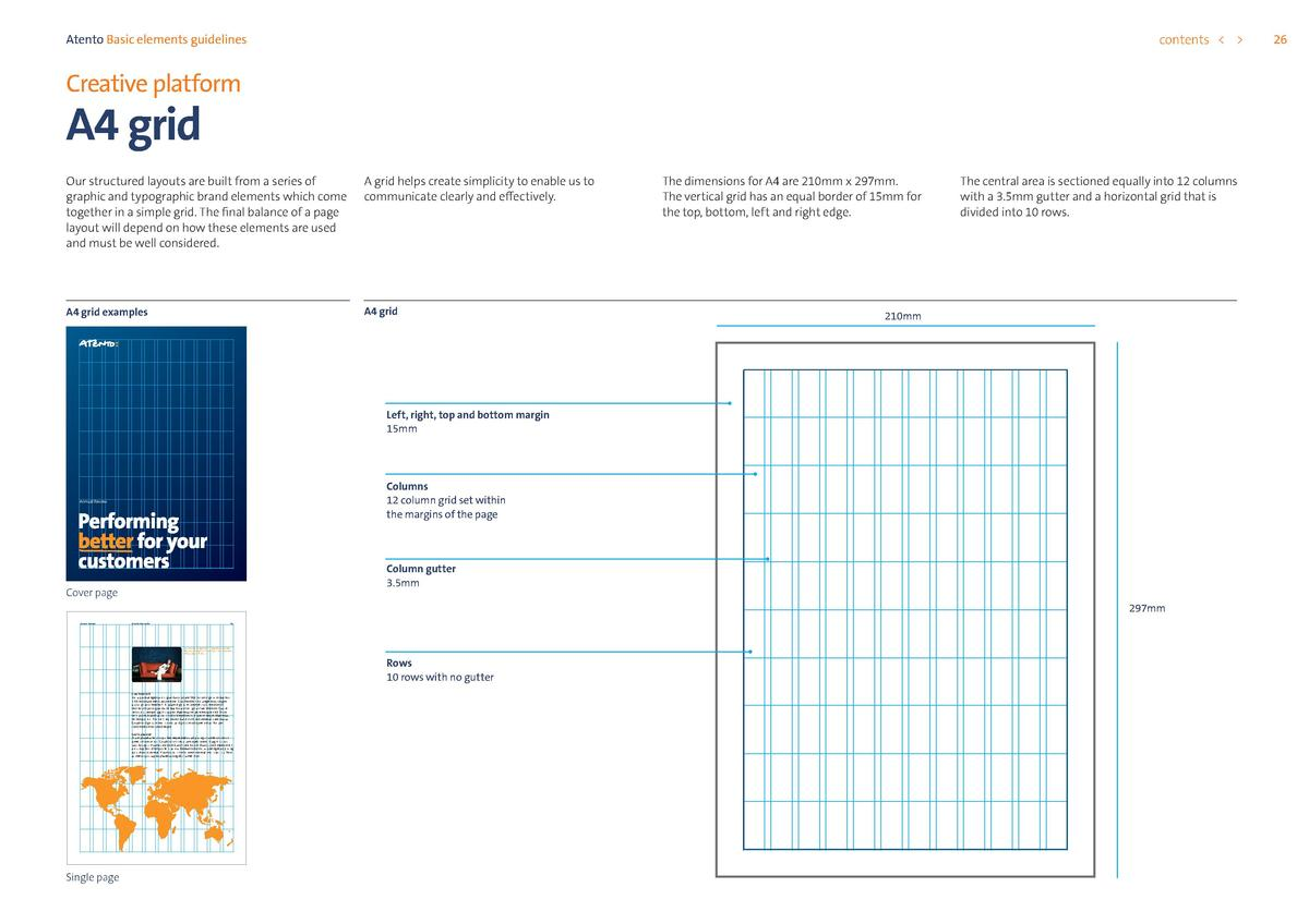 contents      Atento Basic elements guidelines  Creative platform  A4 grid  Our structured layouts are built from a series...