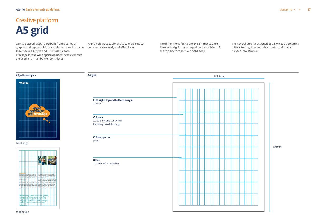 contents      Atento Basic elements guidelines  Creative platform  A5 grid  Our structured layouts are built from a series...