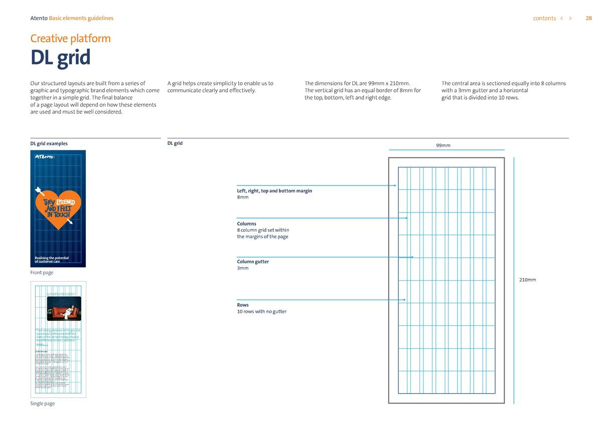 contents      Atento Basic elements guidelines  Creative platform  DL grid  Our structured layouts are built from a series...