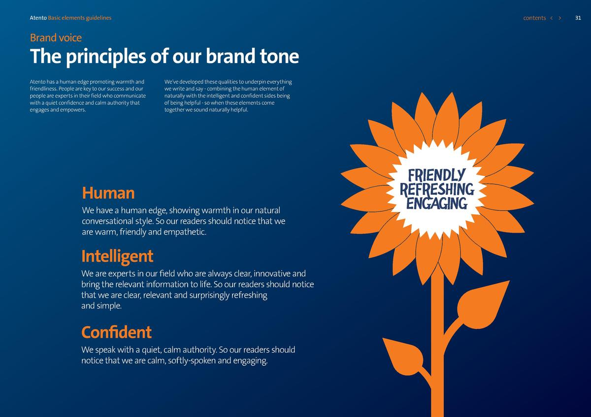 contents      Atento Basic elements guidelines  Brand voice  The principles of our brand tone Atento has a human edge prom...