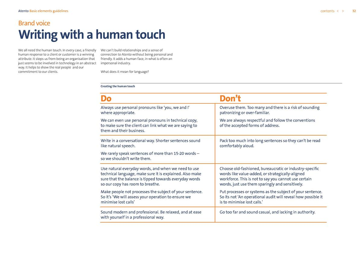 contents      Atento Basic elements guidelines  Brand voice  Writing with a human touch We all need the human touch. In ev...
