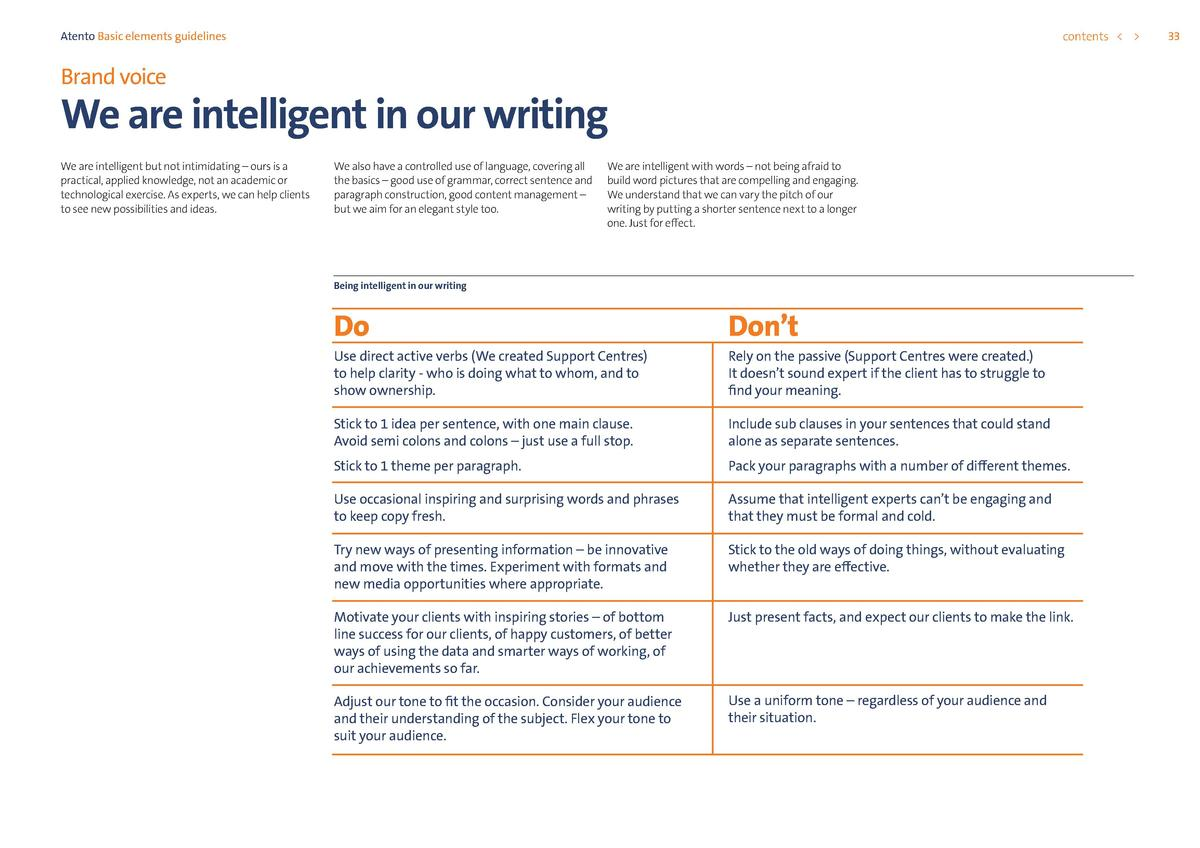 contents      Atento Basic elements guidelines  Brand voice  We are intelligent in our writing We are intelligent but not ...