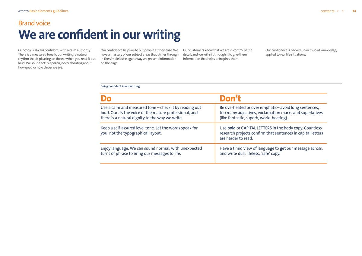 contents      Atento Basic elements guidelines  Brand voice  We are confident in our writing Our copy is always confident,...