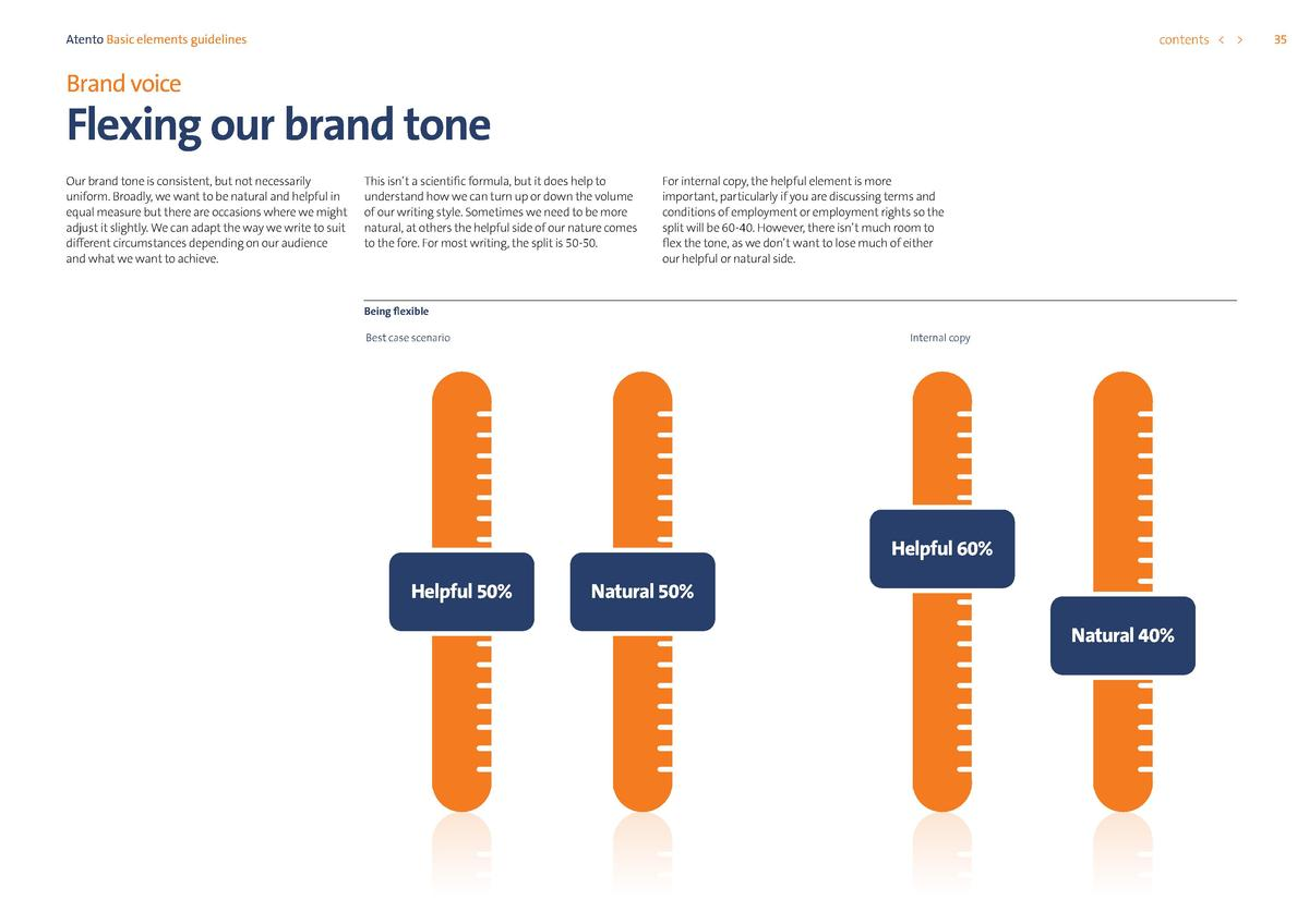 contents      Atento Basic elements guidelines  Brand voice  Flexing our brand tone Our brand tone is consistent, but not ...
