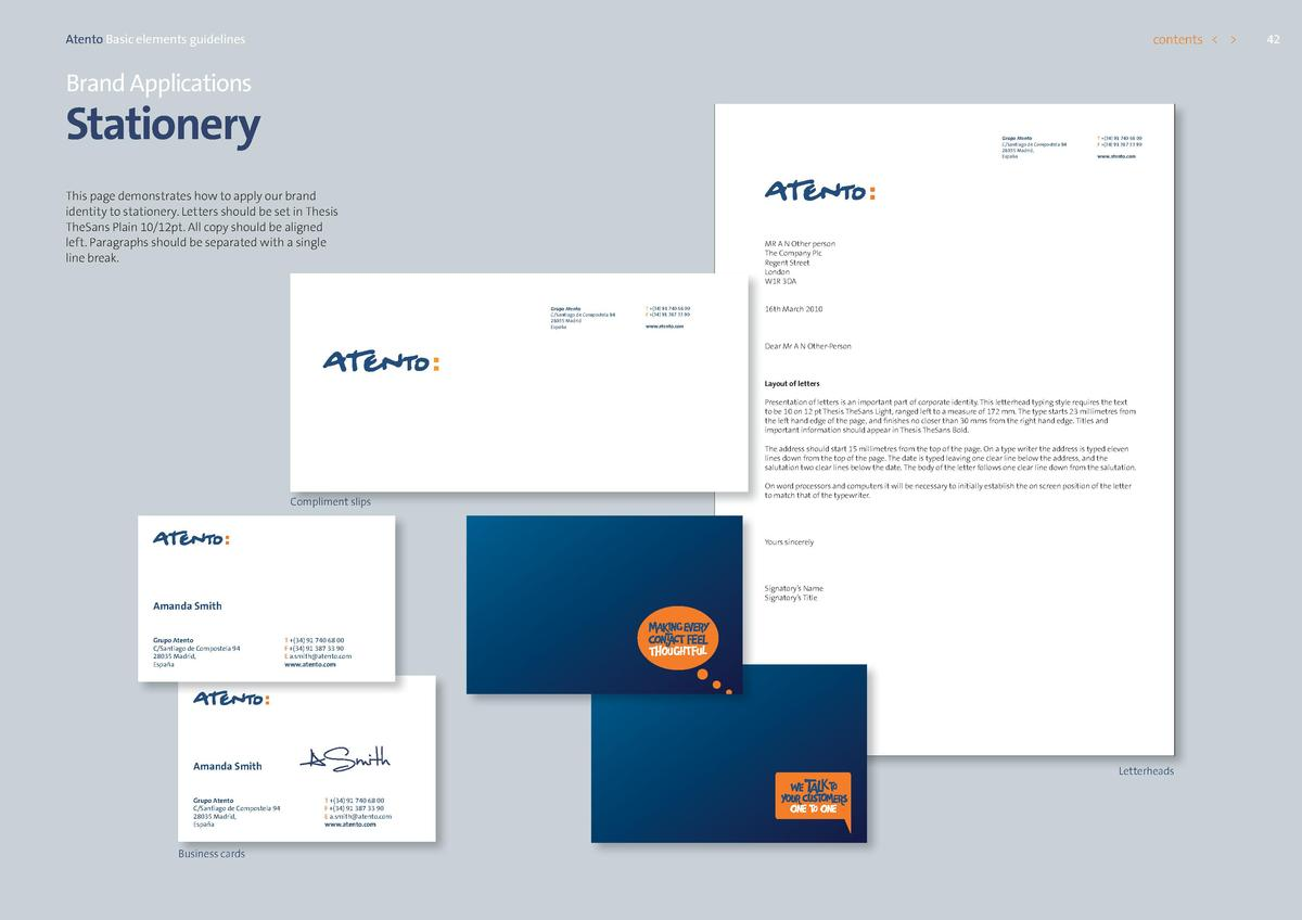 contents      Atento Basic elements guidelines  Brand Applications  Stationery  Grupo Atento C Santiago de Compostela 94 2...