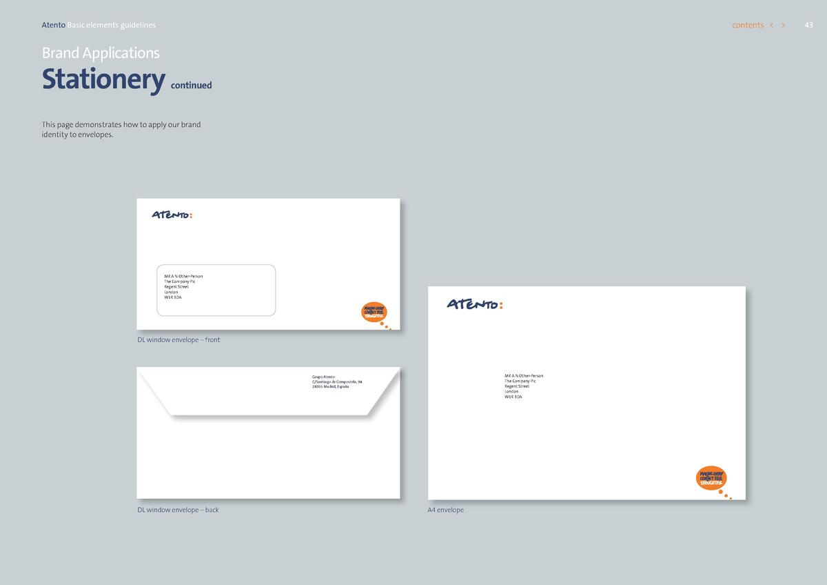 contents      Atento Basic elements guidelines  Brand Applications  Stationery  continued  This page demonstrates how to a...