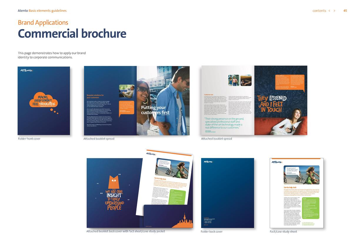 contents      Atento Basic elements guidelines  Brand Applications  Commercial brochure This page demonstrates how to appl...