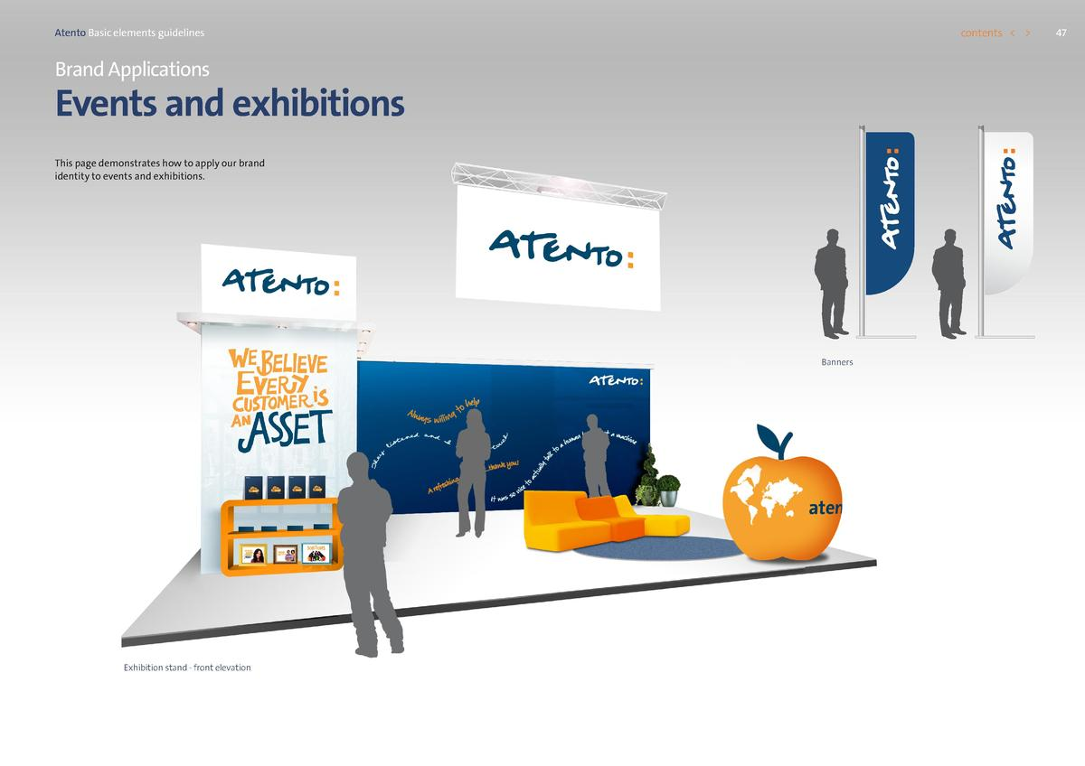 contents      Atento Basic elements guidelines  Brand Applications  Events and exhibitions This page demonstrates how to a...