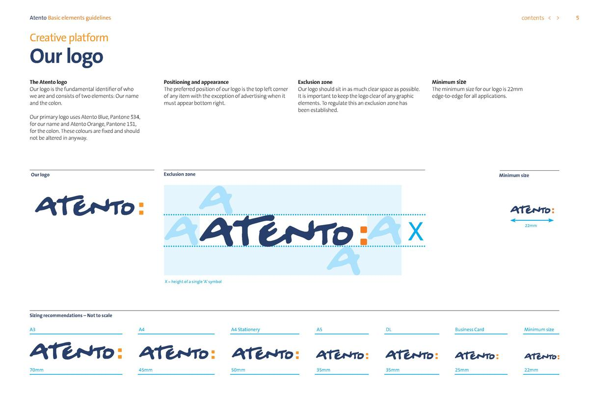 contents      Atento Basic elements guidelines  Creative platform  Our logo  Positioning and appearance The preferred posi...