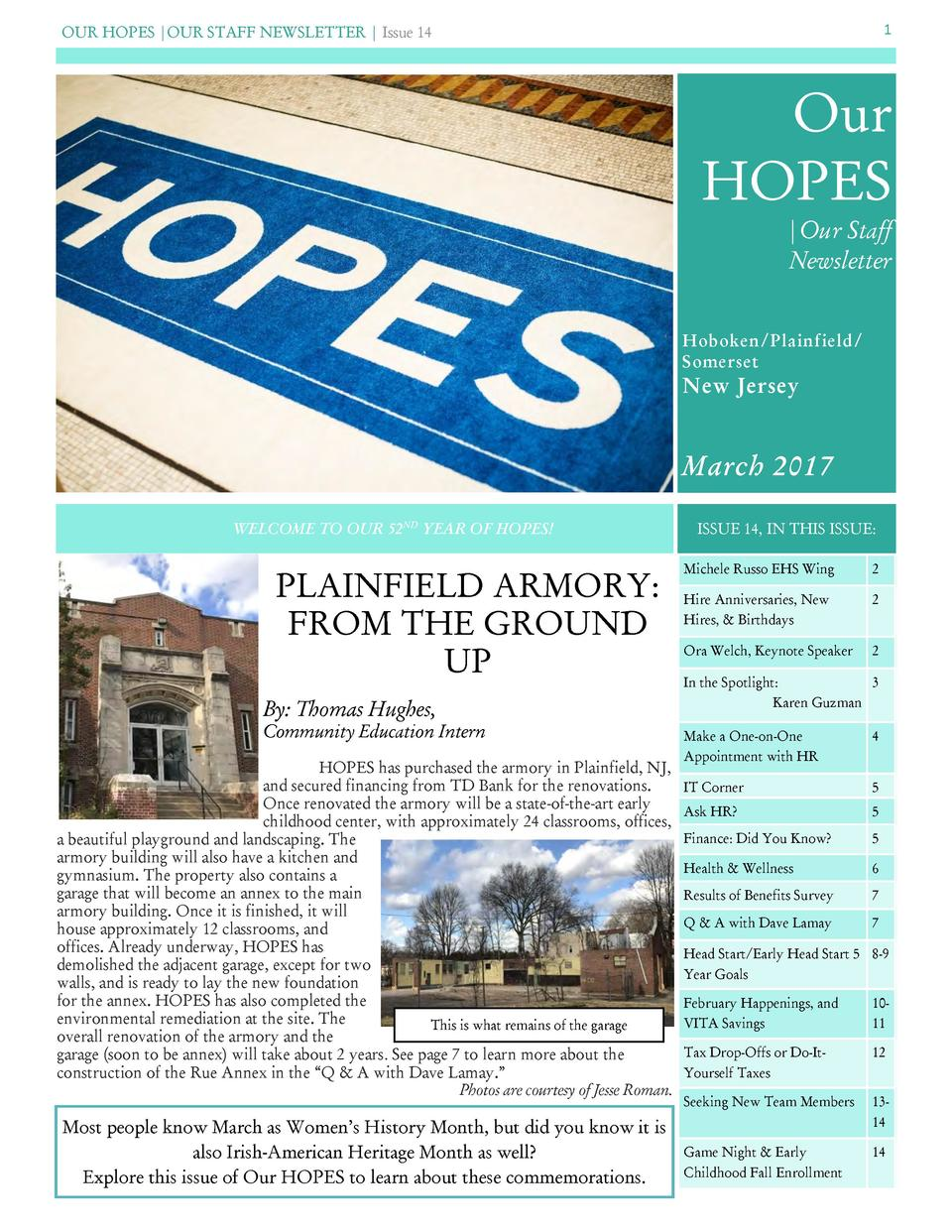 OUR HOPES  OUR STAFF NEWSLETTER   Issue 14  1  Our HOPES  Our Staff Newsletter Hoboken Plainfield  Somerset  New Jersey  M...