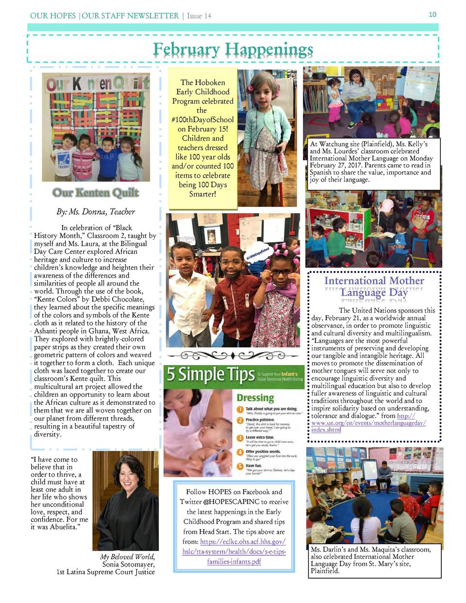 OUR HOPES  OUR STAFF NEWSLETTER   Issue 14  10  February Happenings  Our Kenten Quilt  The Hoboken Early Childhood Program...