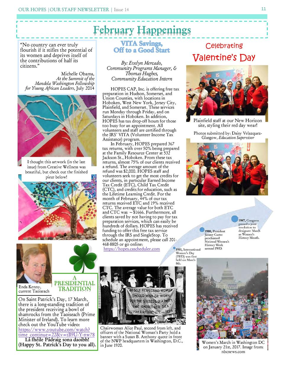 OUR HOPES  OUR STAFF NEWSLETTER   Issue 14  11  February Happenings    No country can ever truly flourish if it stifles th...